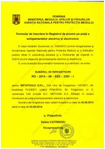 Certificare Metatools - punerea pe piață a echipamentelor electrice și electronice