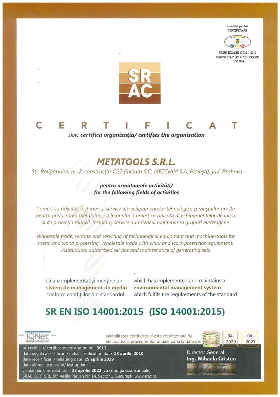 Certificat SR EN ISO 14001:2015