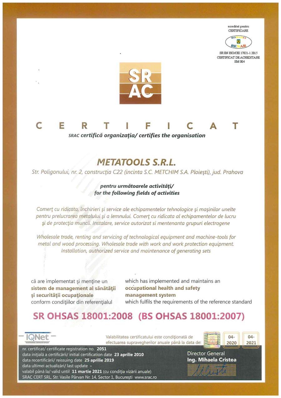 Certificat SR OHSAS 18001:2008 (BS OHSAS 18001:2007)