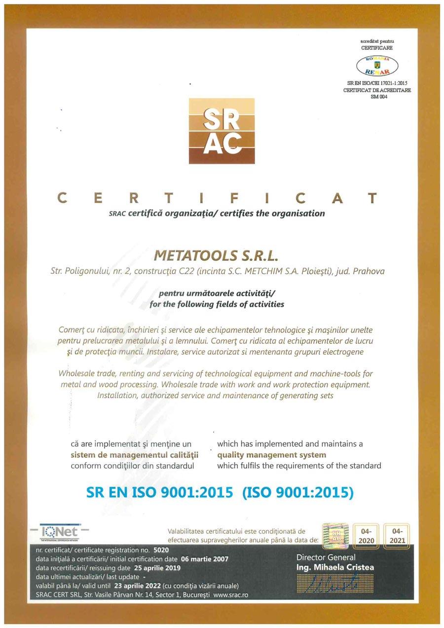 Certificat SR EN ISO 9001:2015